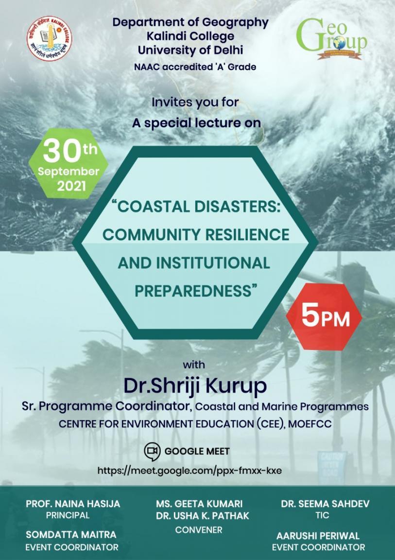 COASTAL DISASTERS-COMMUNITY RESILIENCE & INSTITUITIONAL PREPAREDNESS